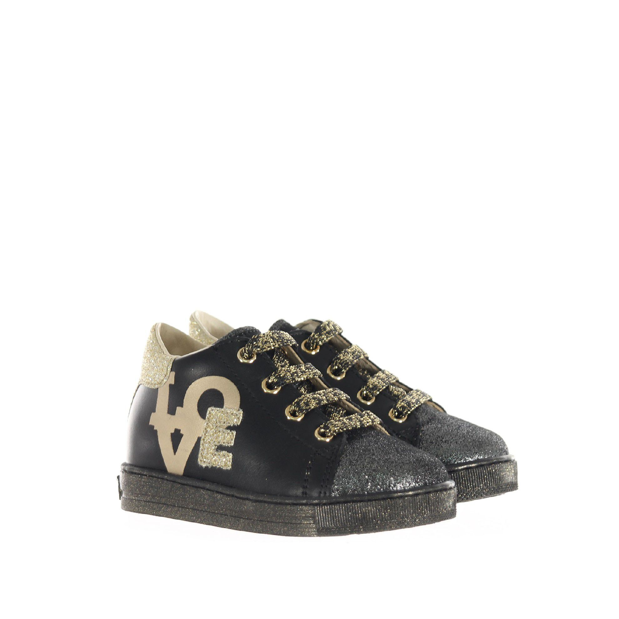 """Falcotto sneaker in pelle con scritta """"love"""" da bambina"""