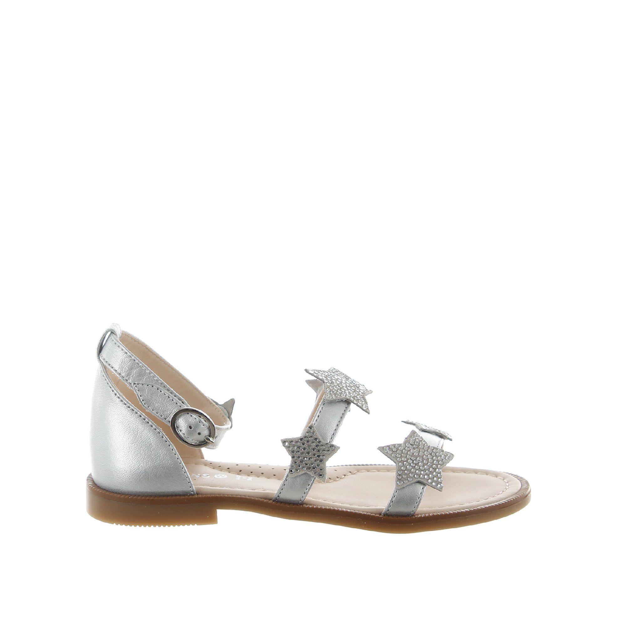 Florens sandaletto in pelle laminata con strass da bambina