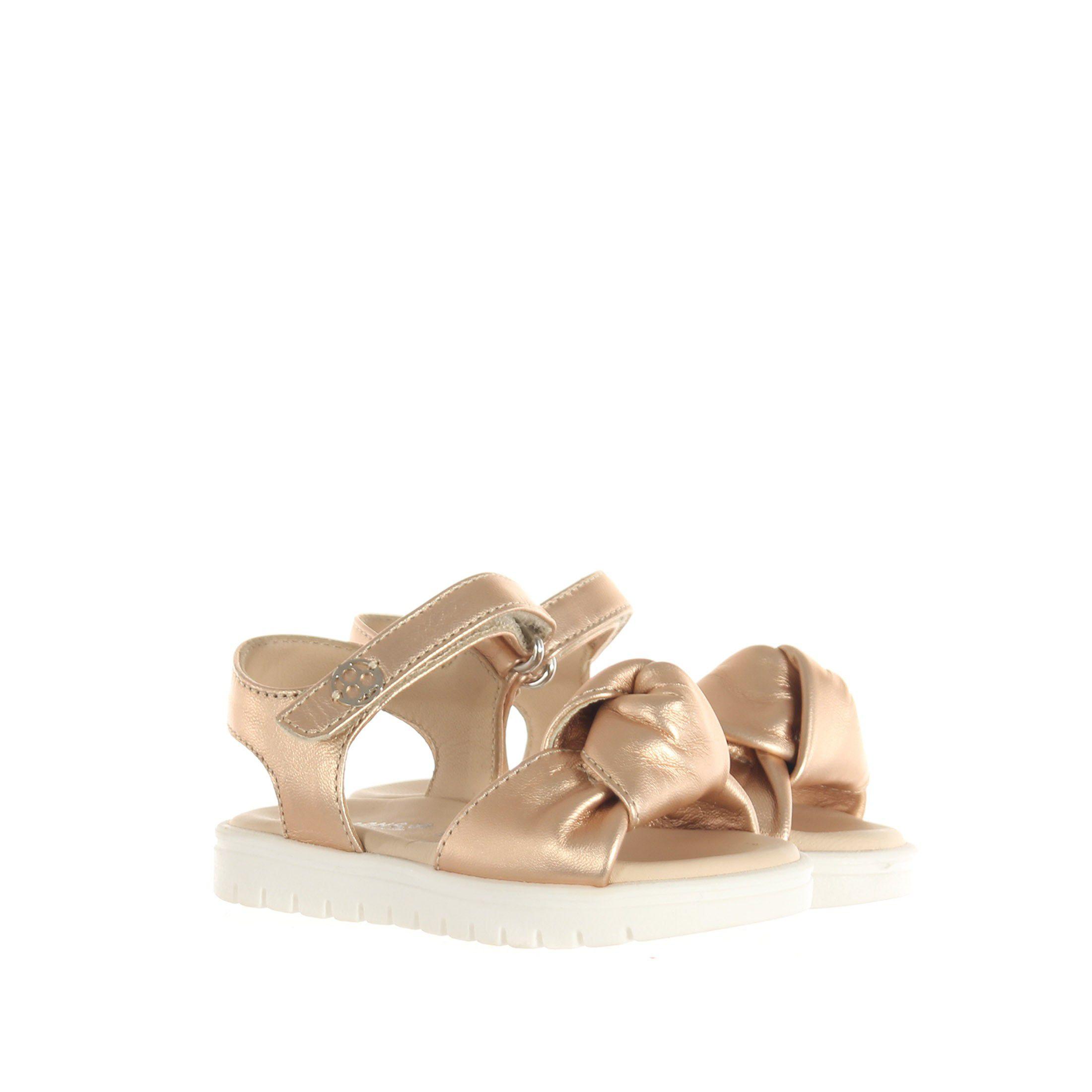 Florens sandalo in pelle metal con fiocco da bambina