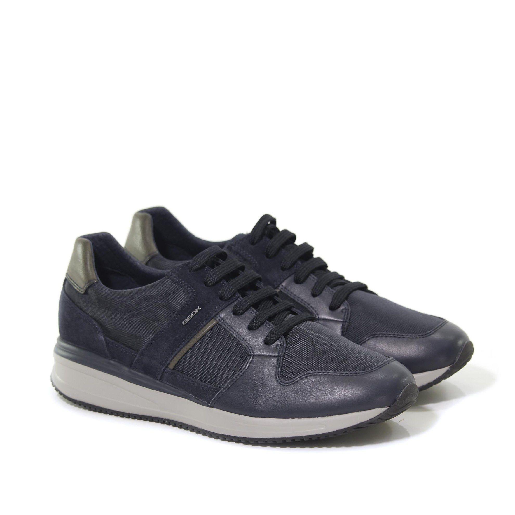 Geox sneaker dennie a in nappa e tessuto tecnico da uomo