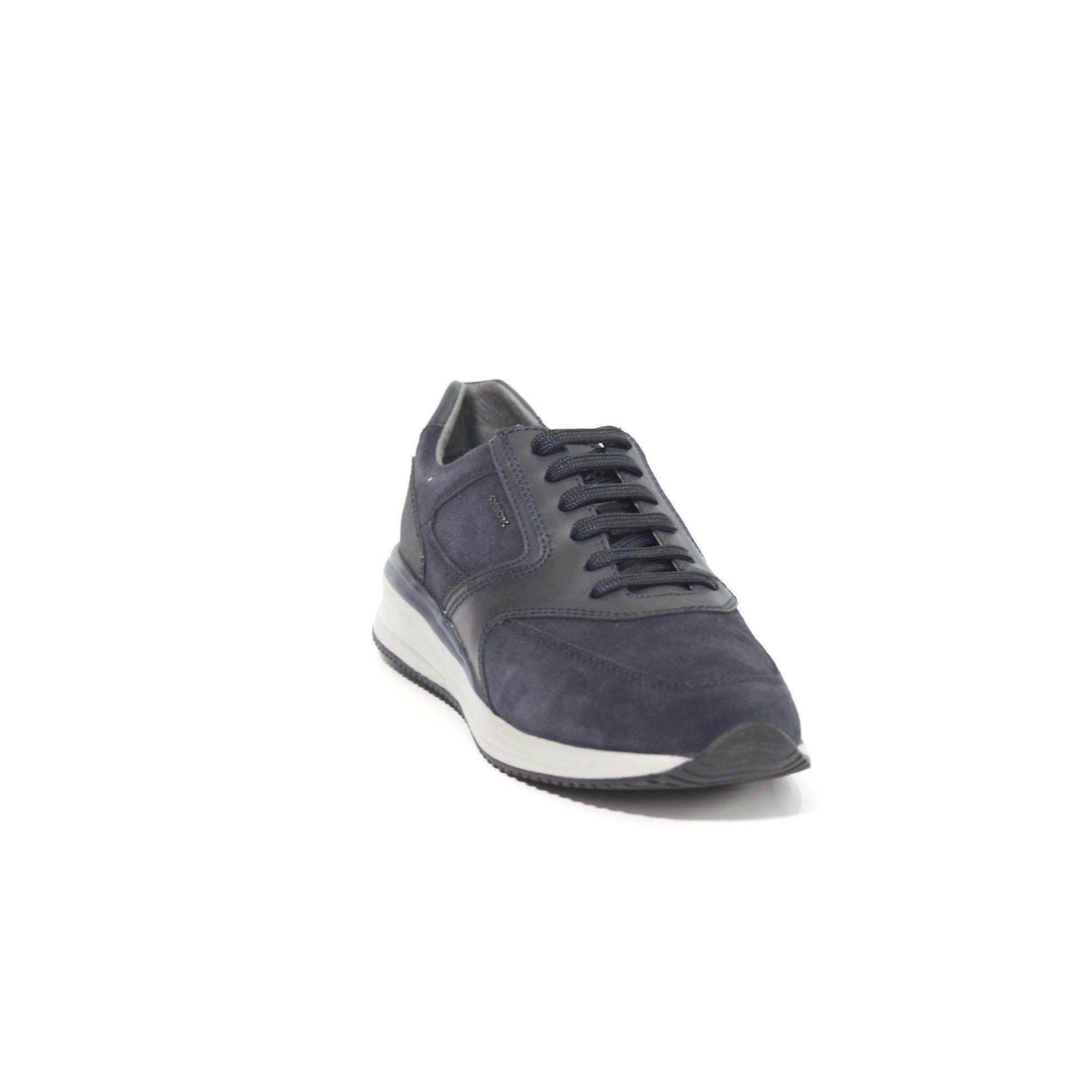 Geox sneaker dennie a in suede e pelle da uomo