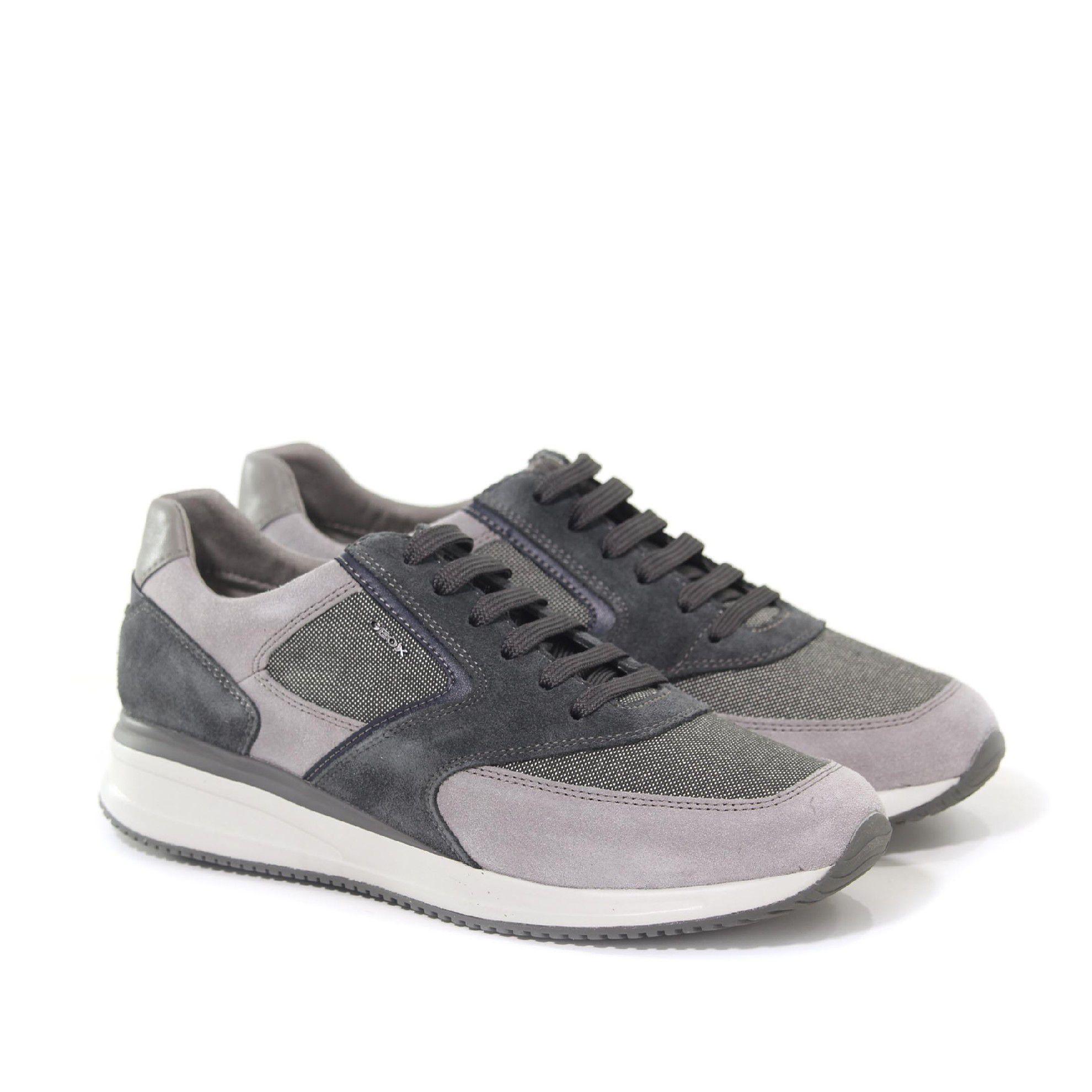 Geox sneaker dennie a in suede e tessuto tecnico da uomo