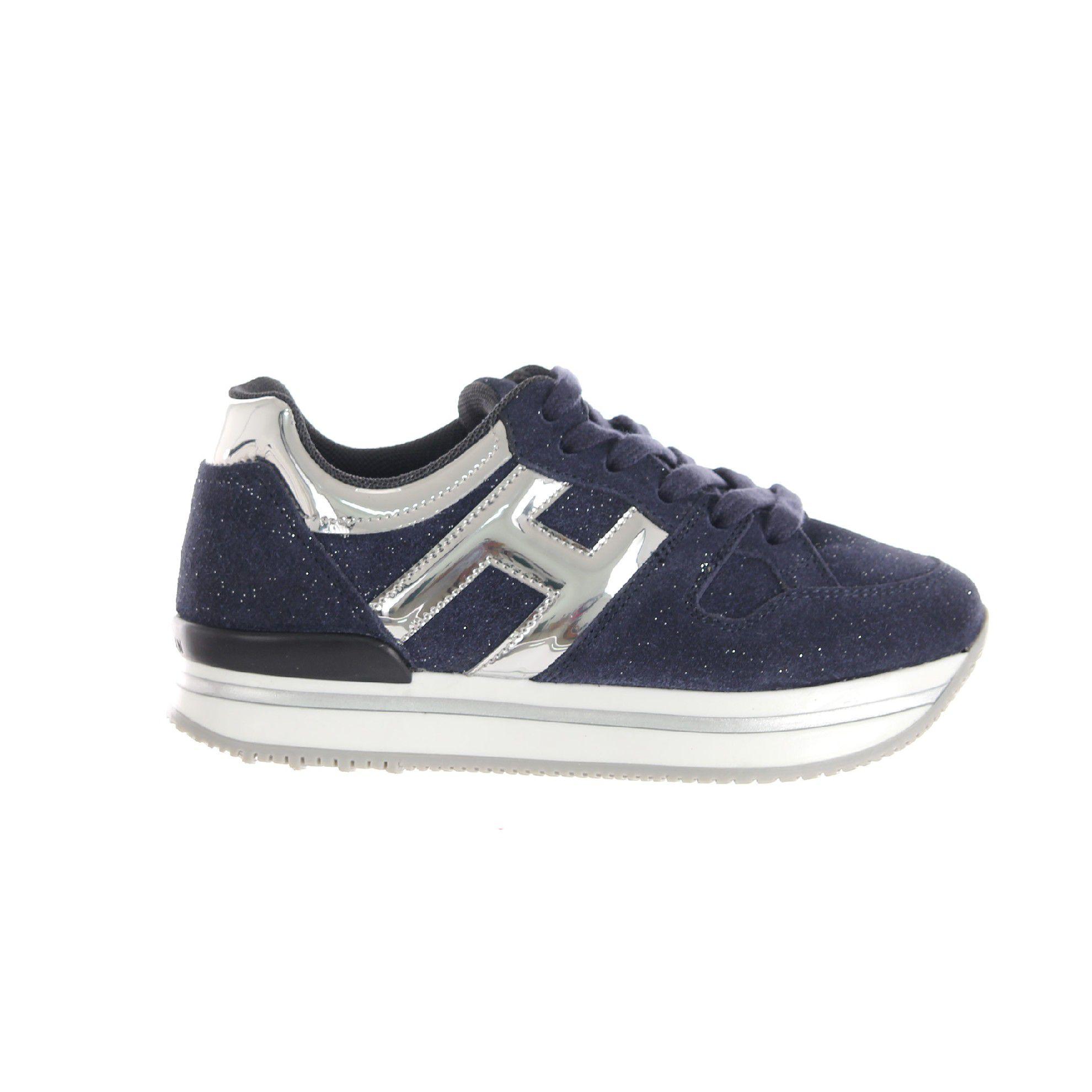 Hogan sneaker h222 in camoscio shiny e pelle metal da bambina