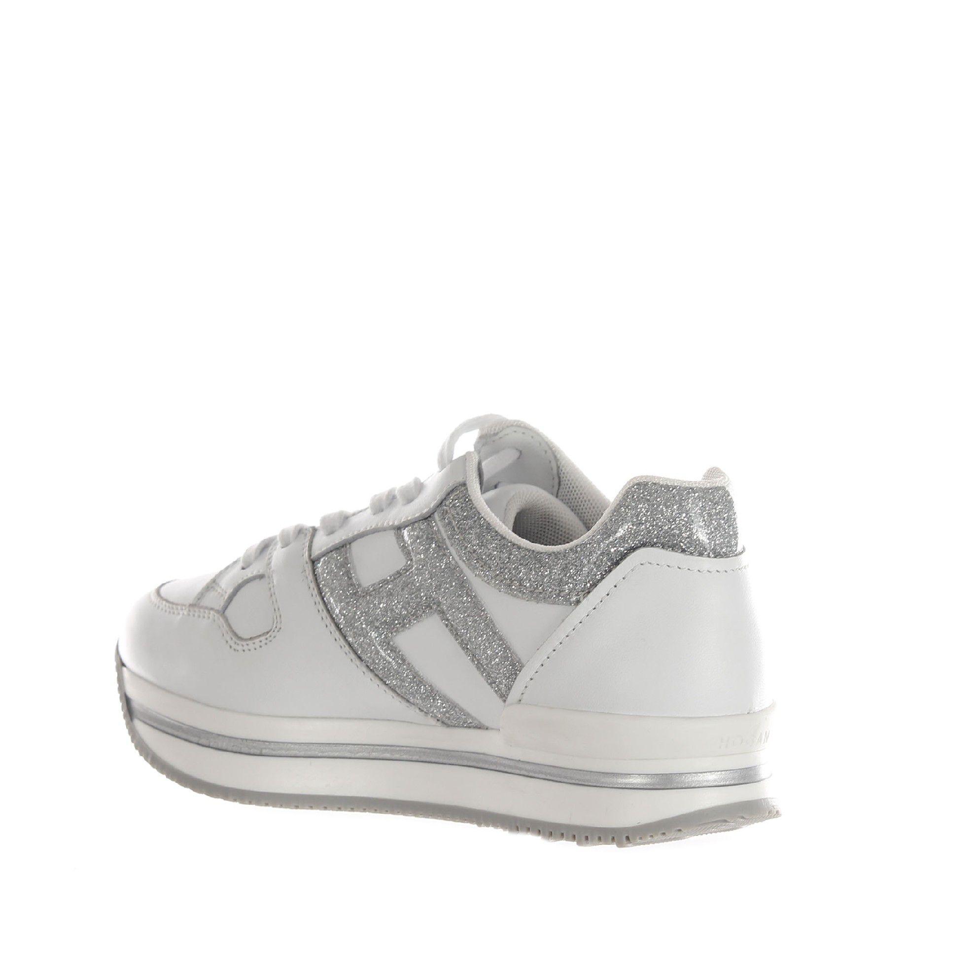 Hogan sneaker h222 in pelle e glitter da bambina