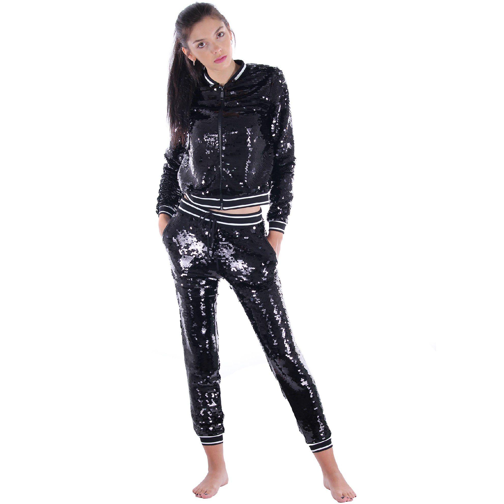Michael kors pantalone sportivo con paillettes da donna