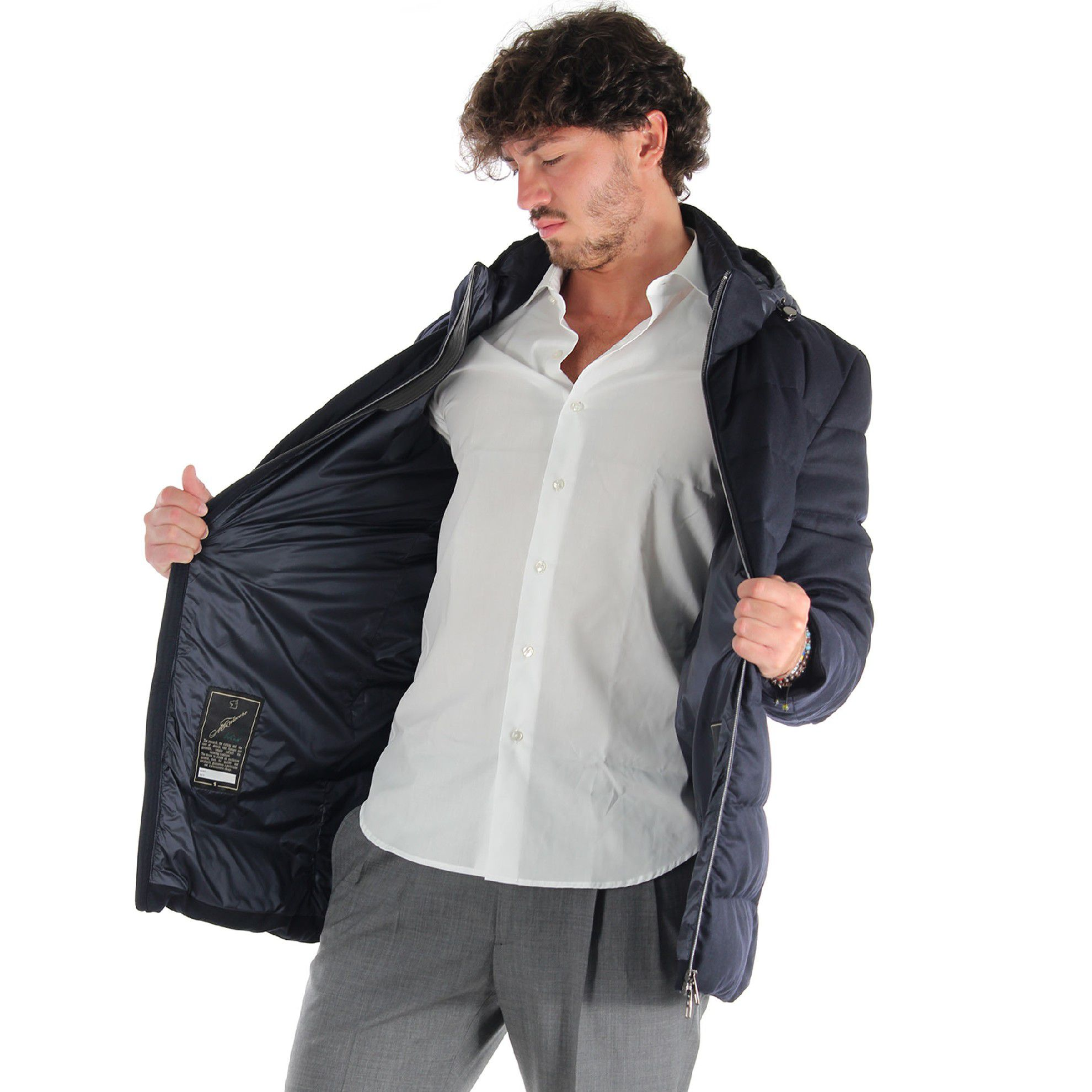 Montecore piumino lungo 100% lana vergine da uomo