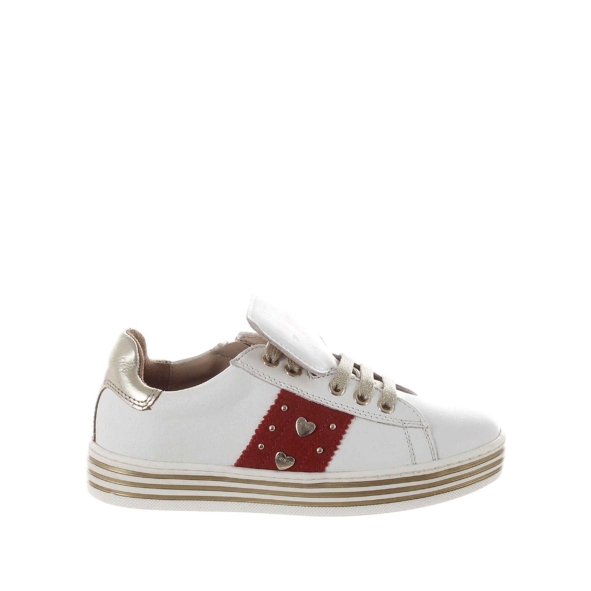 Twinset sneaker in pelle con cuori e borchie da bambina