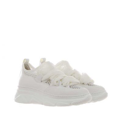 Sneaker slip-on in pelle e tessuto a rete