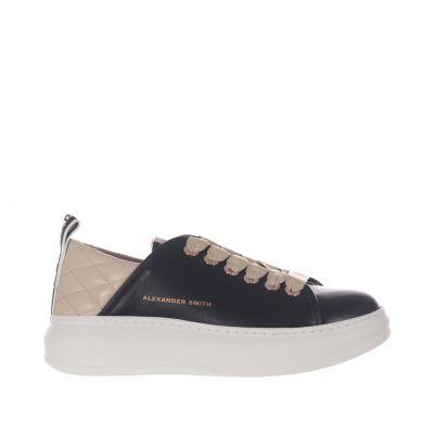 Sneaker wembley in pelle con inserto trapuntato