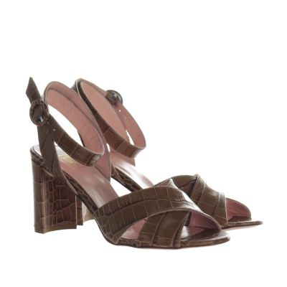 Sandalo in pelle stampa cocco con tacco midi