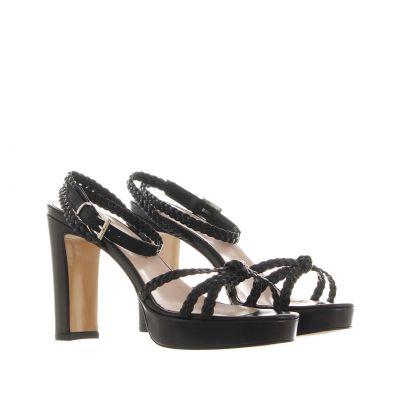 Sandalo platform in pelle intrecciata