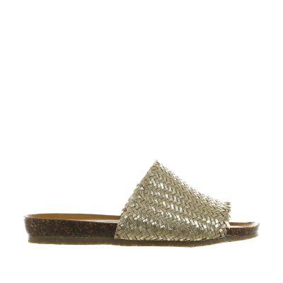 Ciabatta in pelle metal con suola in sughero