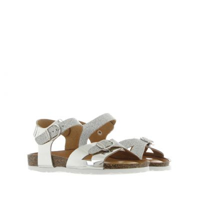 Sandalo in pelle specchiata e glitter