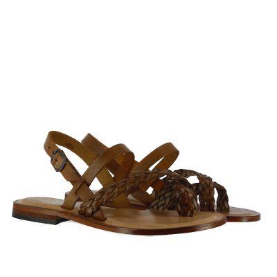 Sandalo flat in pelle intrecciata