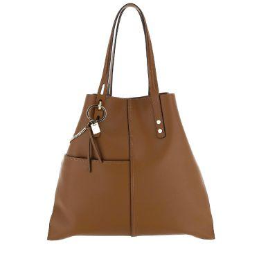 Medium shopping bag in pelle