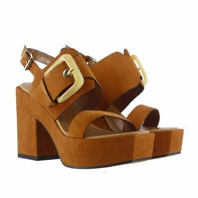 Sandalo platform in pelle scamosciata
