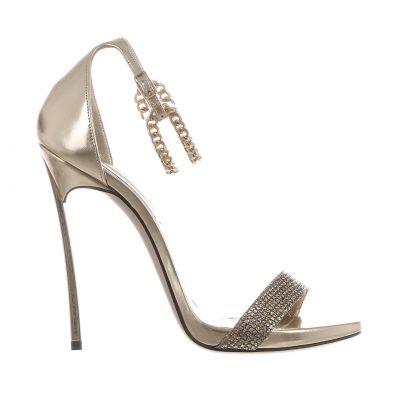 Sandalo blade in pelle metal