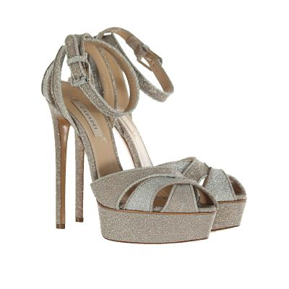Sandalo platform in tessuto glitterato