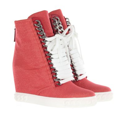 Sneakers in tessuto shiny con zeppa interna