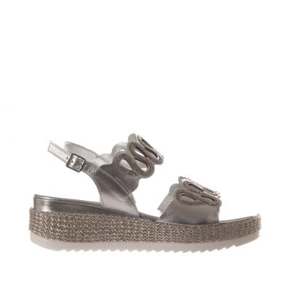 Sandalo in pelle metal con microcristalli