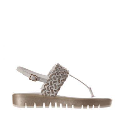 Sandalo infradito in pelle con microcristalli