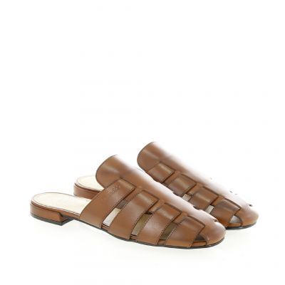 Sandalo flat in pelle