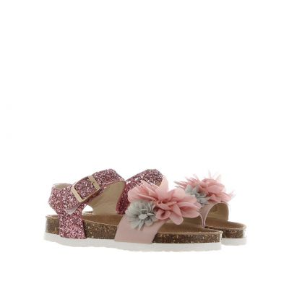 Sandalo in pelle e glitter