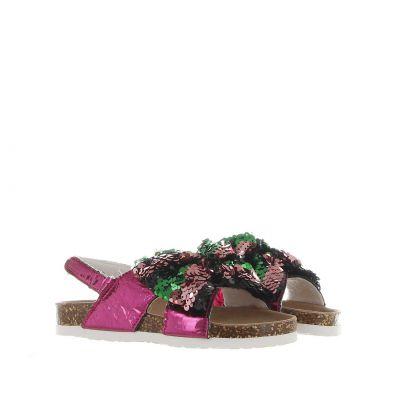 Sandalo in tessuto con fiocco