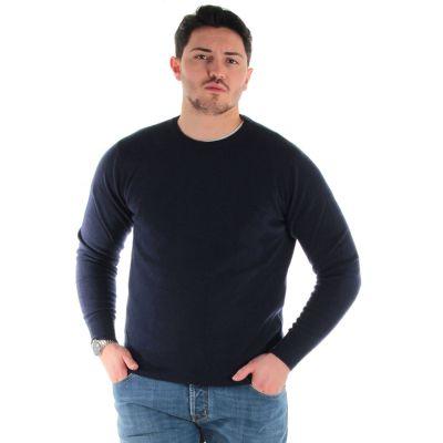 Maglione girocollo in lana merinos e cashmere
