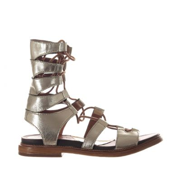 Sandalo gladiatore in pelle metallizzata