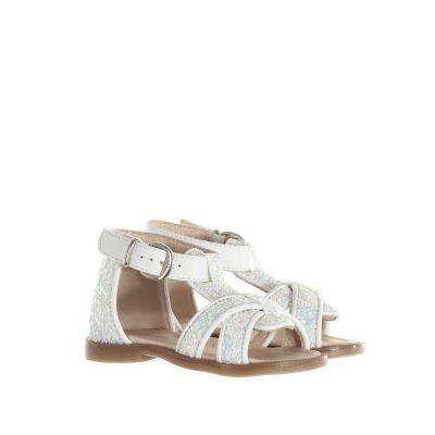 Sandaletto in pelle e glitter