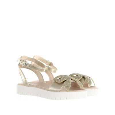 Sandalo in pelle metal con fiocco