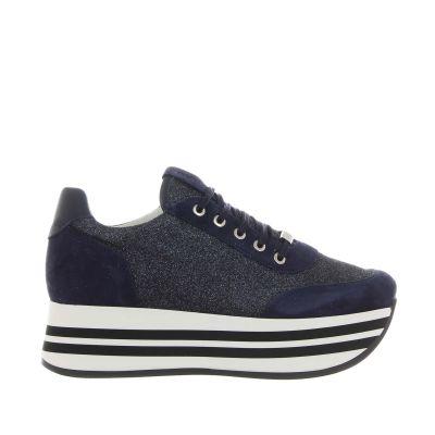 Sneaker platform in suede e glitter