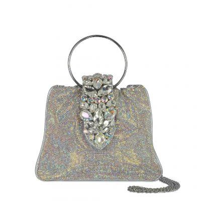 Borsa crystal pouch in tessuto glitter