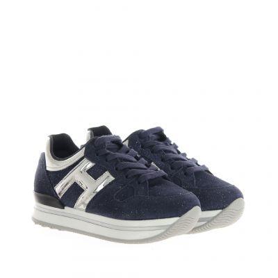Sneaker h222 in camoscio shiny e pelle metal