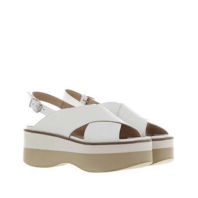 Sandalo roxanna in pelle con zeppa bicolore