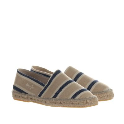 Espadrillas in canvas a punta quadra a strisce