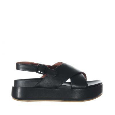 Sandalo platform in pelle con fasce incrociate