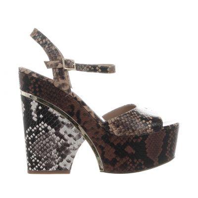 Sandalo lana platform in pelle stampa pitone
