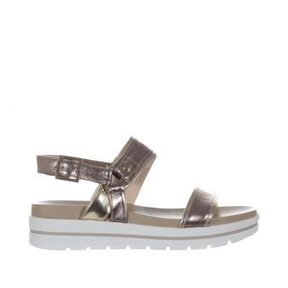 Sandalo in pelle laminata con suola platform