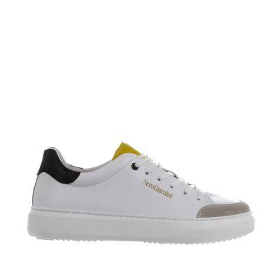 Sneaker in pelle con inserti a contrasto