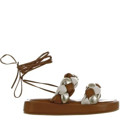Sandalo in econappa intrecciata con inserti metal