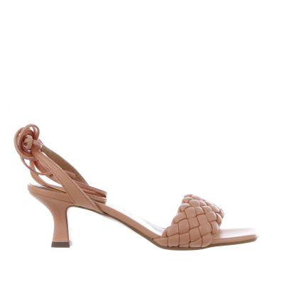 Sandalo in econappa intrecciata con tacco midi