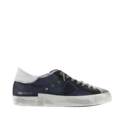 Sneaker prsx low in pelle e camoscio