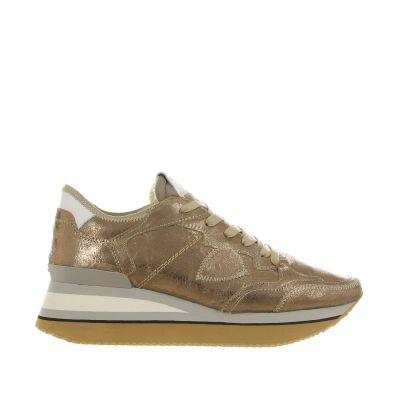 Sneaker triomphe in pelle metal craquelé