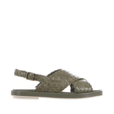 Sandalo malena in pelle intrecciata