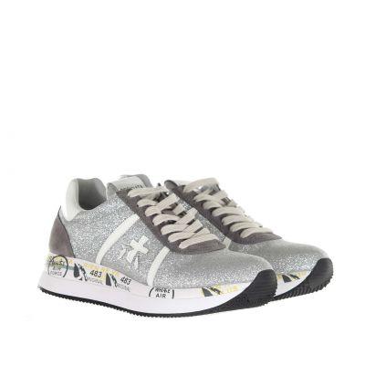 Sneaker in camoscio e glitter