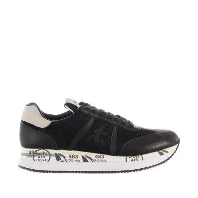 Sneaker in suede e tessuto shiny