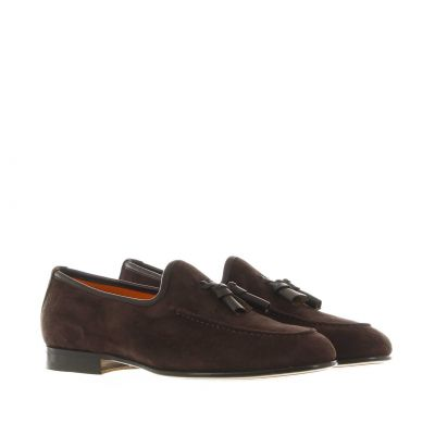 Mocassino in suede con nappine