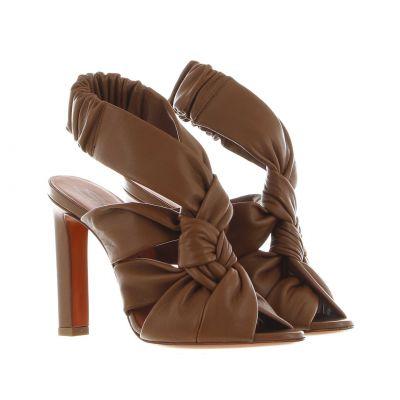 Sandalo in nappa con dettaglio intrecciato
